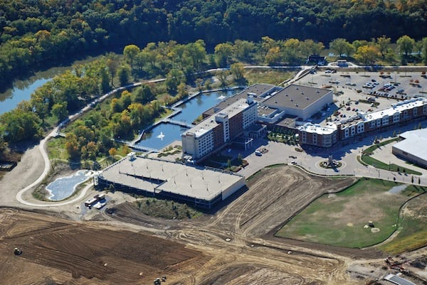 Looking SE at Coralville Marriott Hotel & Conference Center and Iowa River Landing Wetland Park.
