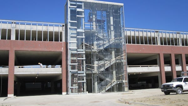 East staircase and elevator of parking garage
