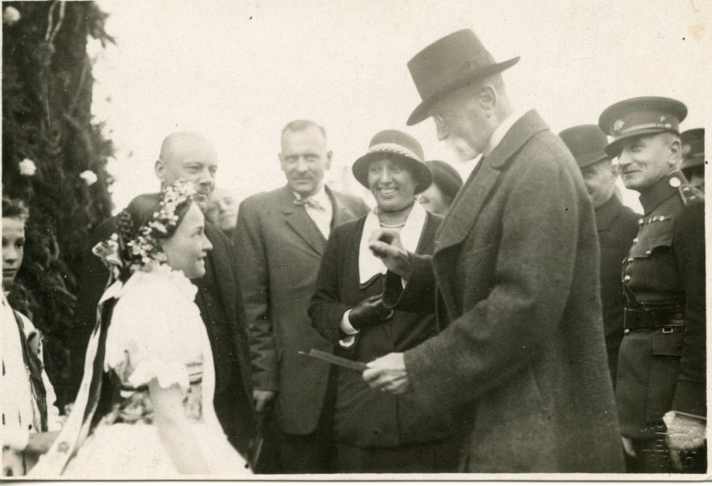 From the archives: This photo of Dr. Alice Garrigue Masarykova, in the dark hat and suit coat with light lapels, with her father Tomas Garrigue Masaryk speaking to a young girl in the Czech Republic was donated by the Komensky Society. Dr. Alice Masaryk's work with the Czechoslovak Red Cross involved the Coe College Camp in Cernovice, which was a health and rehabilitation camp for children whose lives and health had been devastated by World War I. The camp was funded by the efforts Komensky Society and Dr. Anna Heyberger at Coe College in Cedar Rapids, Iowa.