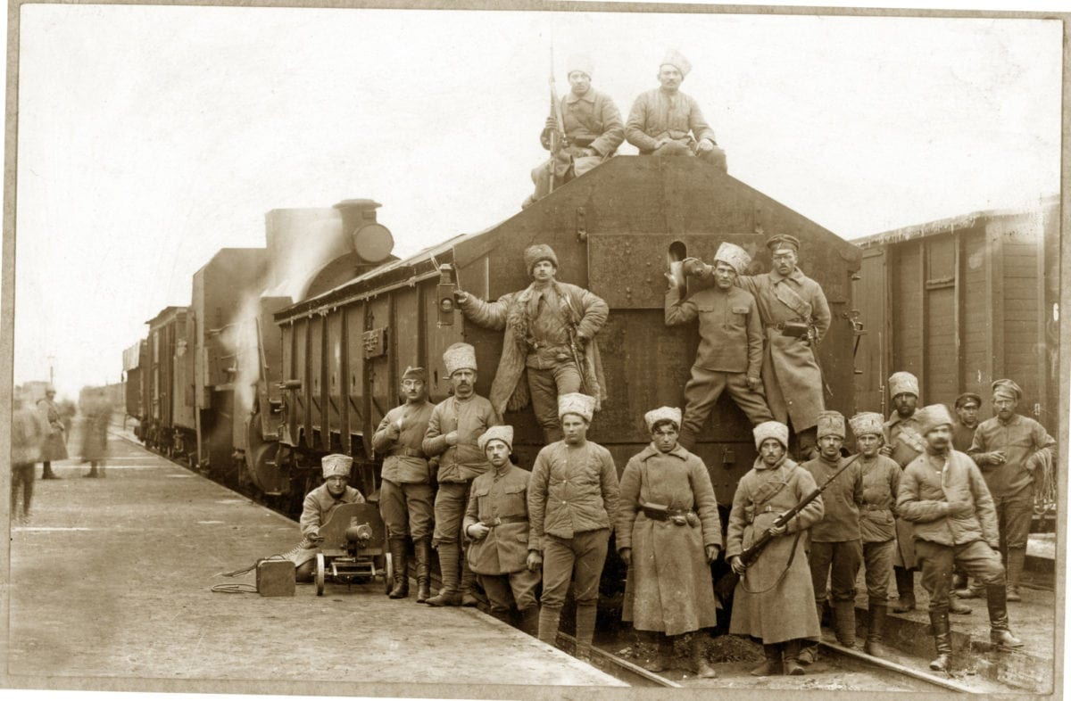 Czech and Slovak soldiers by train car