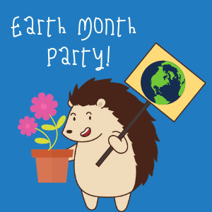 Hubert the Hedgehog holding an Earth sign and flower