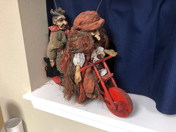 Puppets on a motorcycle