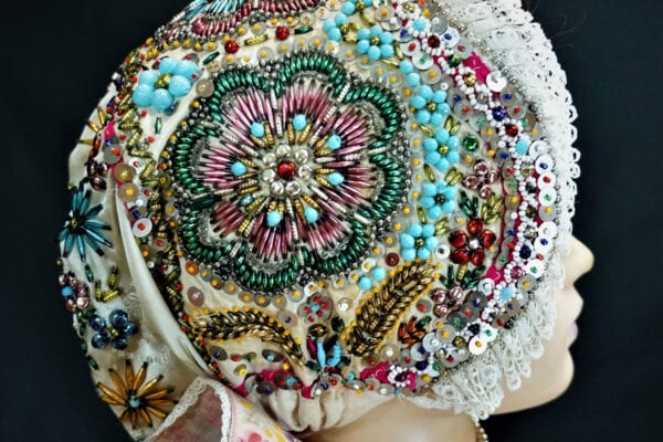 Traditional beaded wedding cap from Ratiskovice in Moravia. Photo by Jozef Kaufmann